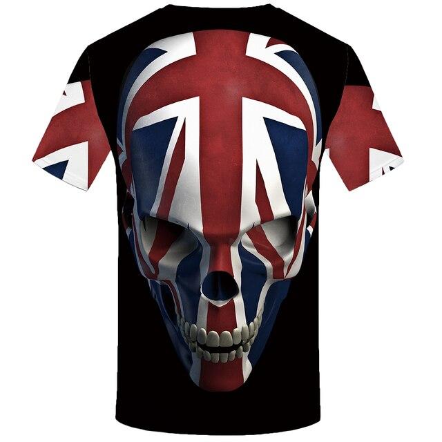 KYKU calavera Camiseta Hombre negro Anime camiseta Reino Unido gótico 3d impresión camiseta Punk Rock ropa Casual Hip Hop ropa para hombre 1