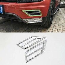 Car Accessories Exterior 2pcs ABS Chrome Front Upper Fog Light Fog Lamp Cover Trim For Volkswagen Tiguan L 2016 Car Styling 1set chrome front upper