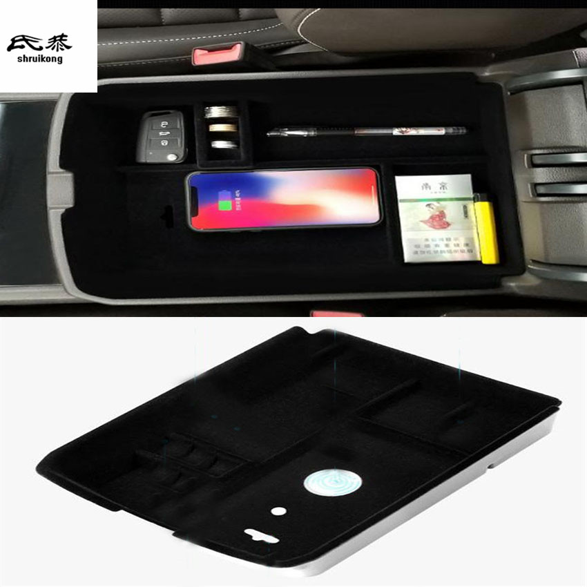 1lot Mobile phone wireless charging Central Armrest storage box for 2017 2018 Volkswagen VW Teramont Atlas