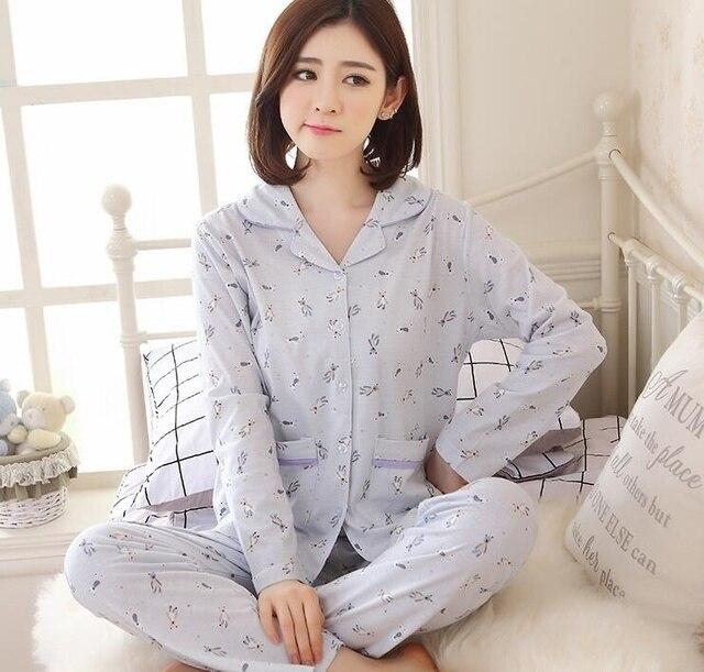Весна Кардиган длина рукава пижамы для женщин 100% Хлопок
