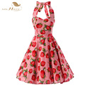 SISHION Nova Verão Halter Floral Imprimir Morango Algodão Vestido Plus Size Elegante VD0223 Partido Balanço Vestido Rockabilly Do Vintage