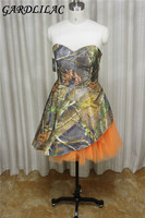 Gardlilac chiffon Camo Short bridesmaid Dress Sweetheart Sleeveless short wedding party Dress Short Prom Evening Gowns