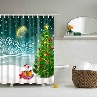 3d冬休日メリークリスマス幸せなシャワーカーテン新しい防水ポリエステル生地風呂カーテ