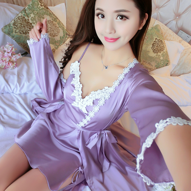 New Arrival Ladies Sexy Silk Satin Robe Gown Set Lace Sleepwear Set Fashion Summer Bathrobe & Nightdress Two Pieces For Women