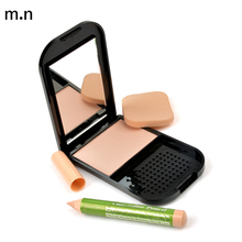 M.N Face Makeup 4 Colors Pressed Powder With Concealer Pencil Compact Powder Professional Makeup Brand