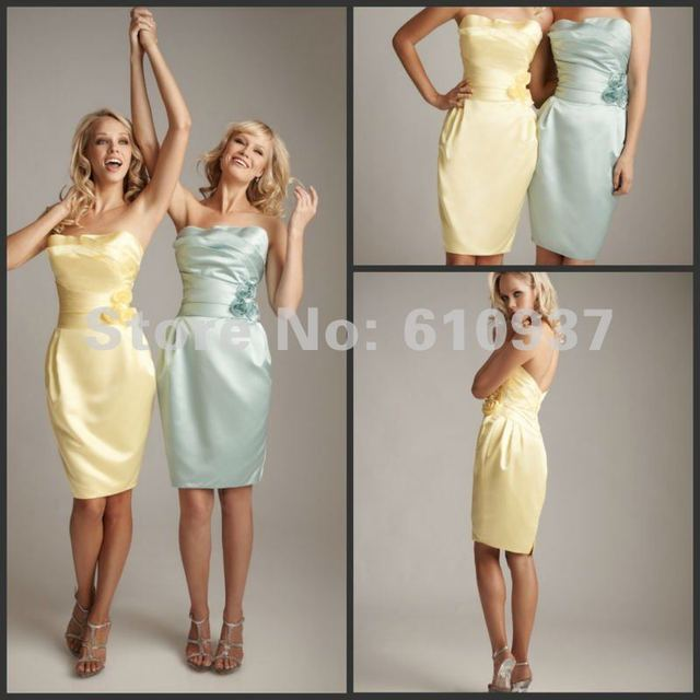 New Arrival!Wholesale!Retail!Satin Strapless Boned Bodice Knee Length Yellow Bridesmaid Dresses BM-0193