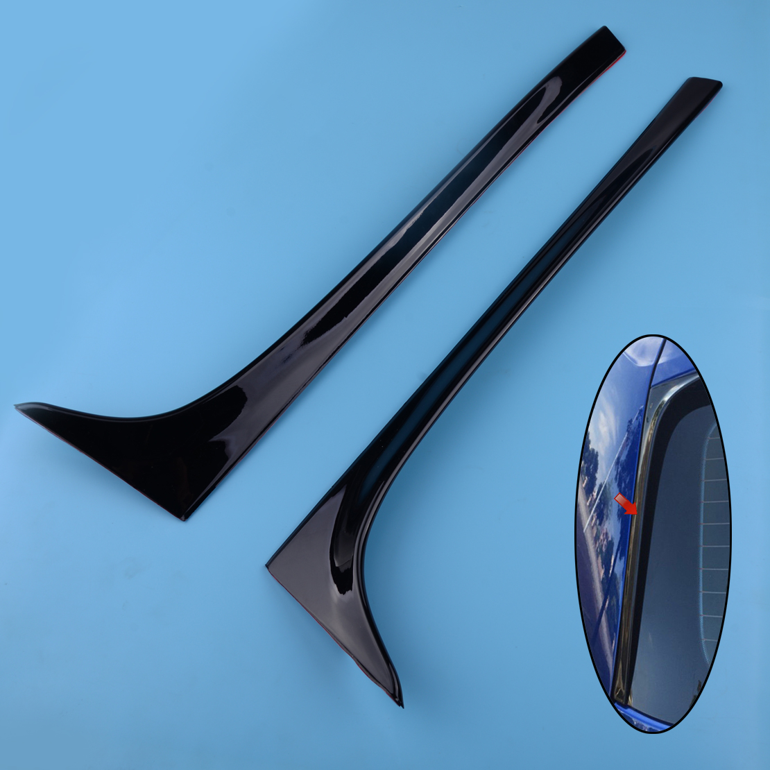 beler 2Pcs Car Black Plastic Rear Window Side Spoiler Wing Lip Cover Trim Sticker Fit For VW <font><b>GOLF</b></font> MK7 MK7.5 <font><b>R</b></font> GTE GTD image