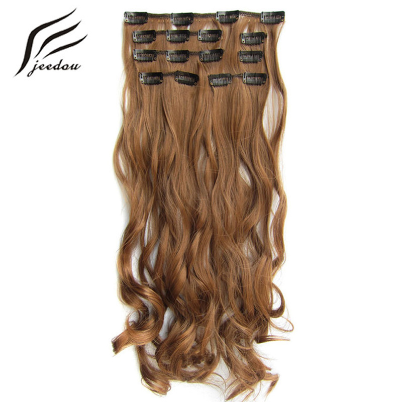 "jeedou Wavy Hair 24 ""60cm 100g Clip In Hair Extensions 7Pcs / set För Full Head Synthetic Natural Black Blonde Color Hairpieces"