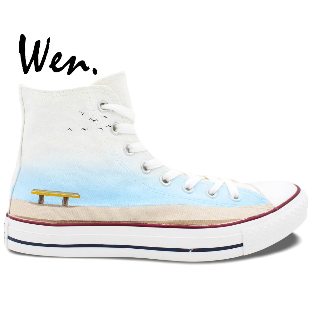 Wen Hand Painted Shoes Design Custom Elephant Sitting on the Bench High Top White Men Women's Canvas Sneakers for Gifts wen original design colorful lamp bulb hand painted shoes black slip on canvas sneakers for man woman s gifts presents