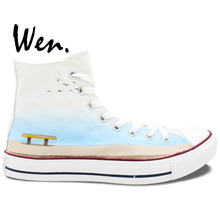 Wen Hand Painted Shoes Design Custom Elephant Sitting on the Bench High Top White Men Women's Canvas Sneakers for Gifts