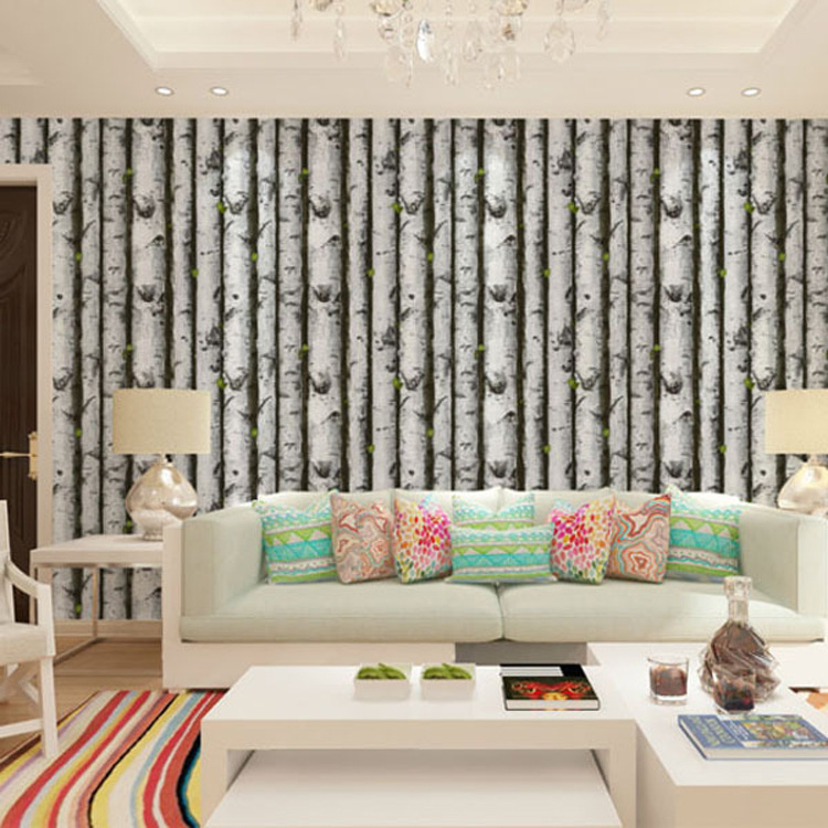 PVC Birch Wood Tree Wallpaper For Bedroom Modern Design