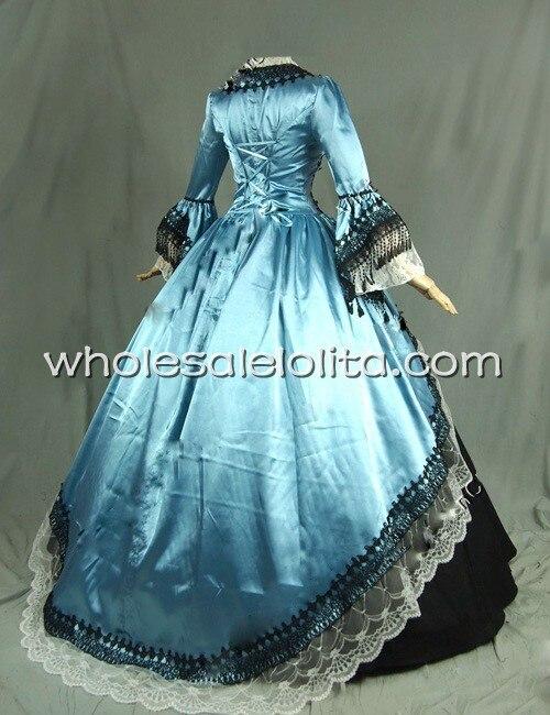 Тематическое платье 18 век голубое и черное платье со времен Марии Антуанетты одежда для выступлений Ренессанса