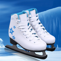New Waterproof Ice Hockey Shoes For Kids Ice Skates Shoes with Ice Blade Thicken Warm Figure Skating Patines blue/pink