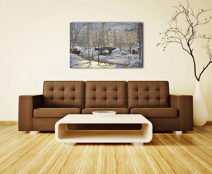 Woonkamer Met Kunst : 1147 winters eve robert finale sneeuwpop landschap. hd doek