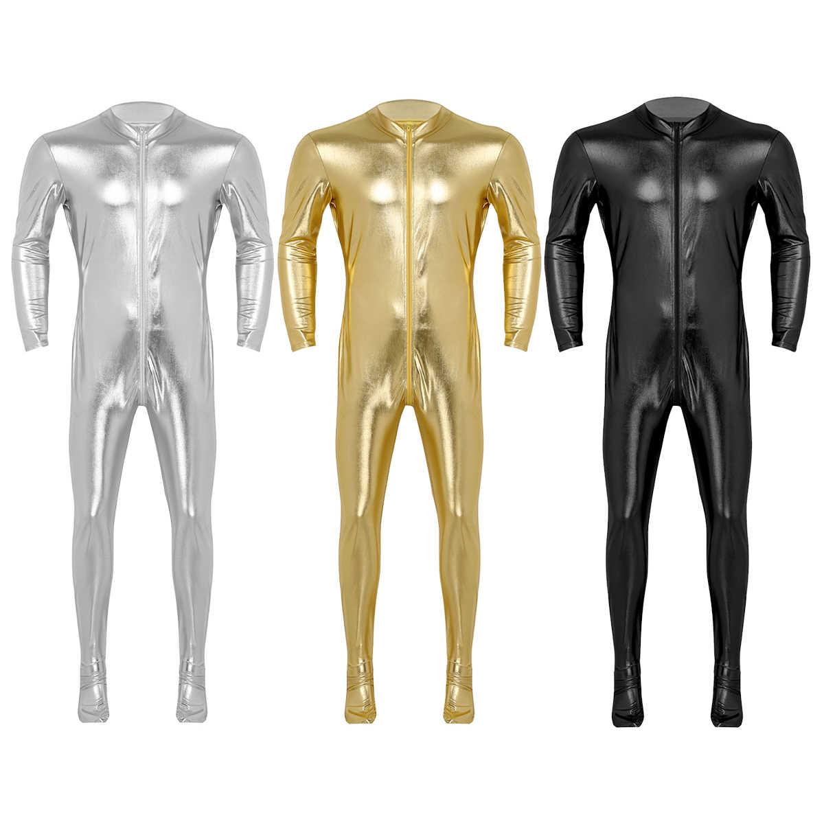 Heren Unitard Halloween Full Body Zentai Goud Glanzend Metallic Spandex Betaalde Skinny Strakke Jumpsuits Gay mannelijke Cosplay Kostuums