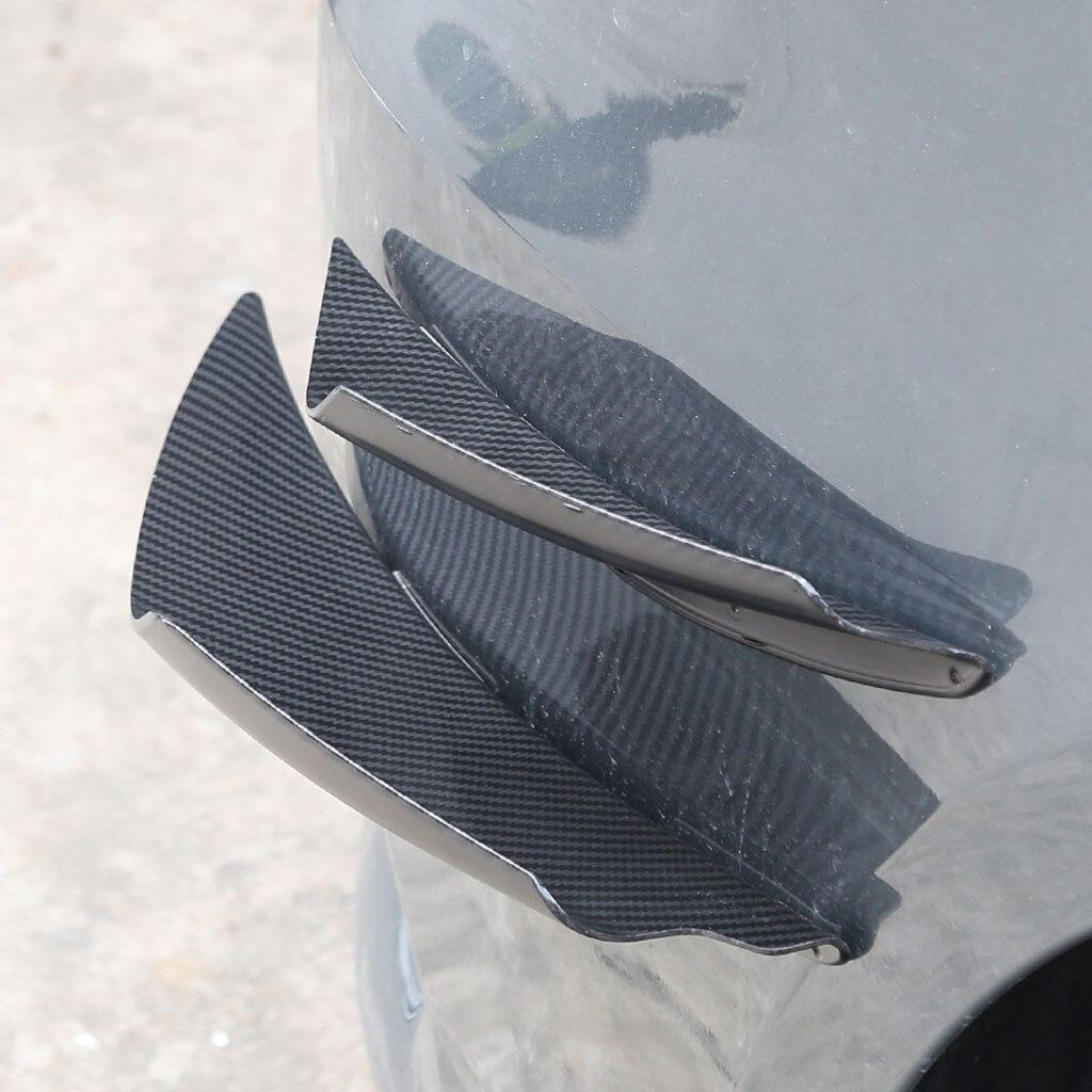 4 piezas Universal de fibra de carbono separador de parachoques delantero aletas set de molduras color de fibra de carbono