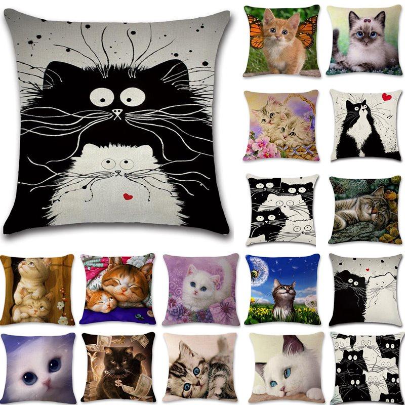 1 Pcs Cartoon Cat Pattern Cotton Linen Throw Pillow Cushion Cover Seat Car Home Sofa Bed Decorative Pillowcase Funda Cojin 40169