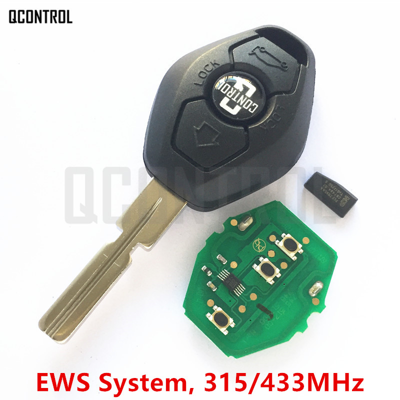 QCONTROL Car Remote Key DIY for BMW EWS 1/3/5/7 Series X3 X5 Z3 Z4 with ID44 Chip Keyless Entry Transmitter HU58 Blade