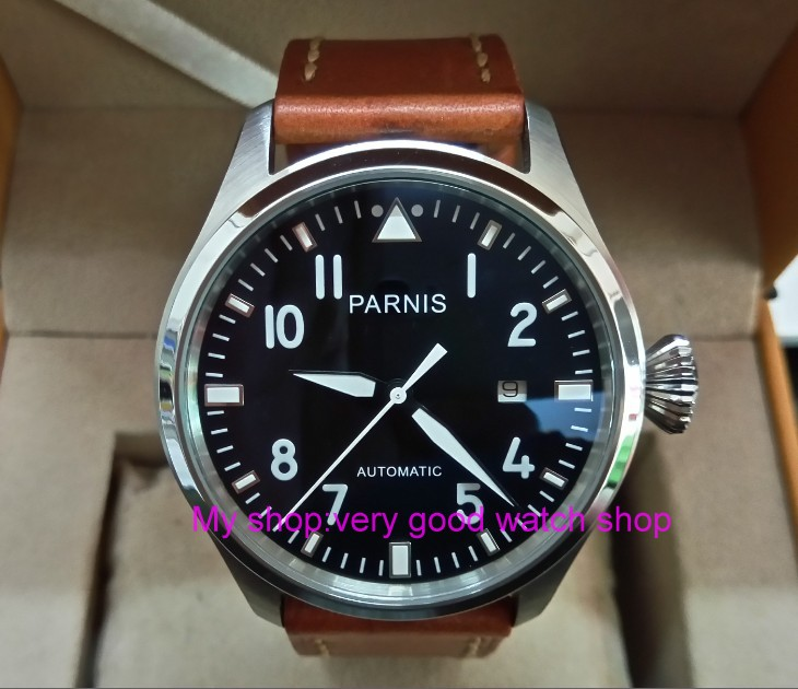 47mm big pilot PARNIS Black dial Automatic Self-Wind movement Auto Date men watches luminous Mechanical watches df70A