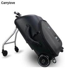 """كاريلوف 19 """"كسول المتداول الأمتعة المقصورة حقيبة سفر الاطفال الجلوس على حقيبة تروللي بعجلات على عجلة القيادة"""