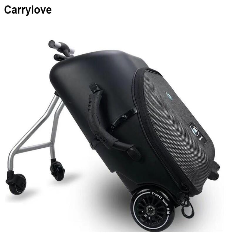 """Bagaj ve Çantalar'ten Tekerlekli Bagaj'de Carrylove 19 """"tembel haddeleme bagaj kabin seyahat bavul çocuklar üzerinde oturmak tekerlekli çanta tekerlek'da  Grup 1"""