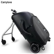 """Carrylove 19 """"tembel haddeleme bagaj kabin seyahat bavul çocuklar üzerinde oturmak tekerlekli çanta tekerlek"""