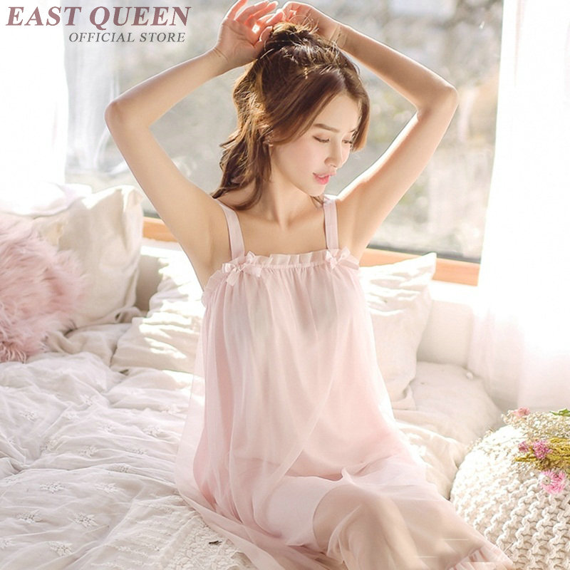 Summer sleeveless sleepwear women nightgowns lace sexy spaghetti strap ruffles mid-calf solid nighty sleepwear dress DD989 L