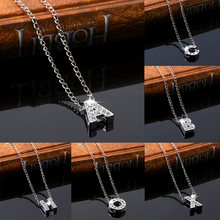 A-Z letter choker necklace custom name love crystal lovers necklace Creative chain collar Silver pendant Femme Women jewelry(China)