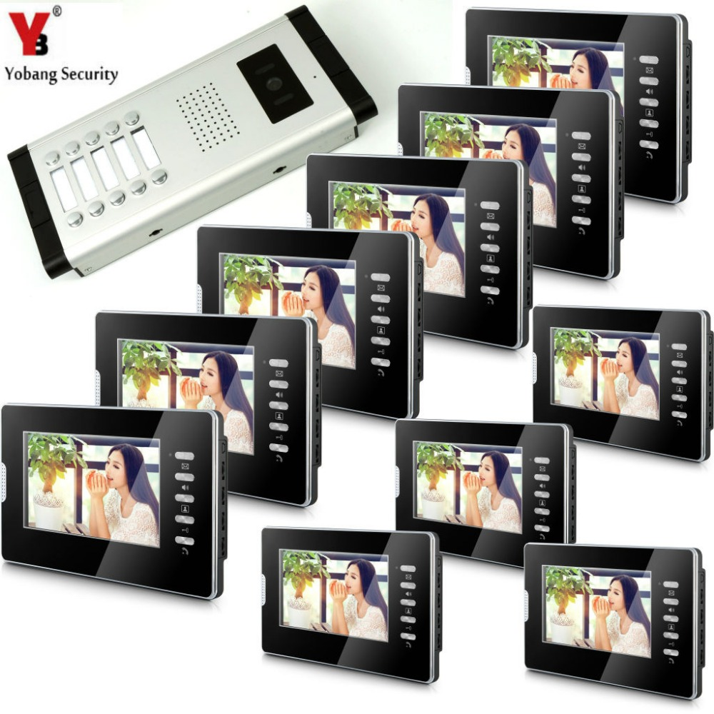 Yobang Security Video Doorbell Intercom 7'Inch Monitor Wired Video Doorphone Intercom Doorbell Entry System 1 Camera 10 Monitor yobang security free ship 7 video doorbell camera video intercom system rainproof video door camera home security tft monitor