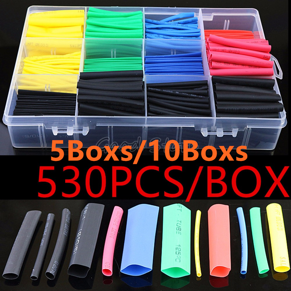 (5Boxs/10Boxs) 530PCS/580PCS Heat Shrink Tubing Insulation Shrinkable Tubes Polyolefin Wire Cable Sleeve Kit Heat Shrink Tubes(5Boxs/10Boxs) 530PCS/580PCS Heat Shrink Tubing Insulation Shrinkable Tubes Polyolefin Wire Cable Sleeve Kit Heat Shrink Tubes