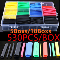 (5Boxs/10Boxs) 530PCS/580PCS Heat Shrink Tubing Insulation Shrinkable Tubes Polyolefin Wire Cable Sleeve Kit Heat Shrink Tubes