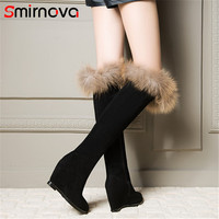 Smirnova TOP quality suede leather wedges boots 2018 pointed toe over the knee boots boots winter shoes thigh high boots ladies