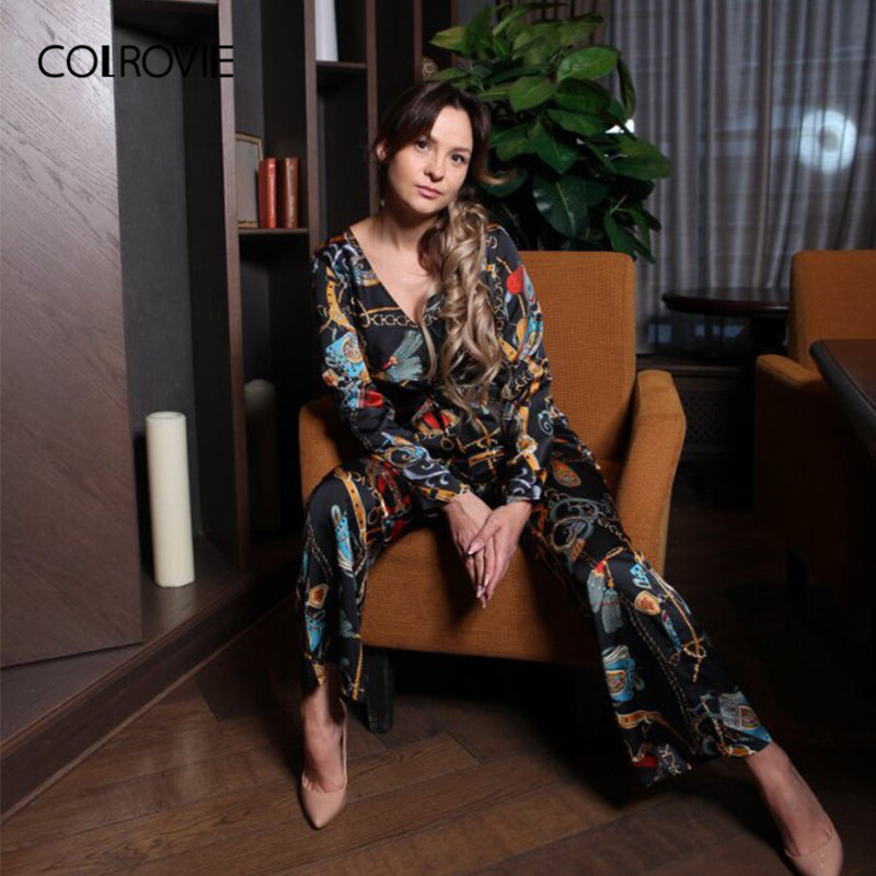 COLROVIE Multicolor Waist Knot Chain Print Elegant Jumpsuit Women Clothing 2018 Winter Long Sleeve Deep V Neck Sexy Jumpsuit