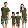 2016 Casual Family Sets Matching Mother And Daughter Clothes Army Green Short-Sleeve T-Shirts+Camouflage Shorts 2Pcs Set JW0155