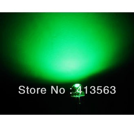 1000PCS  LED LED 5MM transparent green LED,GREEN BRIGHT GREEN, LONG legs ,bright GREEN light body
