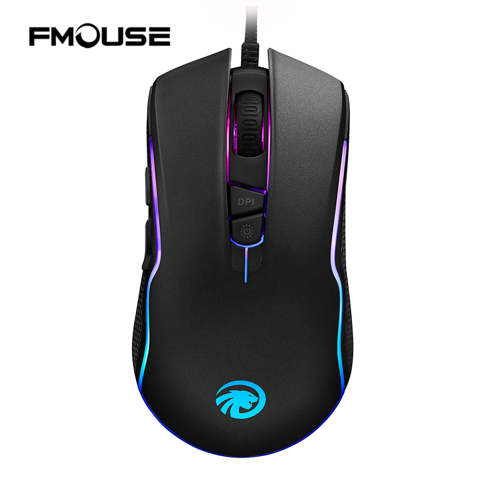 FMOUSE F500 Backlit Wired 4000DPI Gaming Mouse Optical Ergonomic Gaming Mice with 7 Buttons LED for PC/Laptop/Desktop/Computer original logitech g102 gaming wired mouse optical wired game mouse support desktop laptop support windows 10 8 7