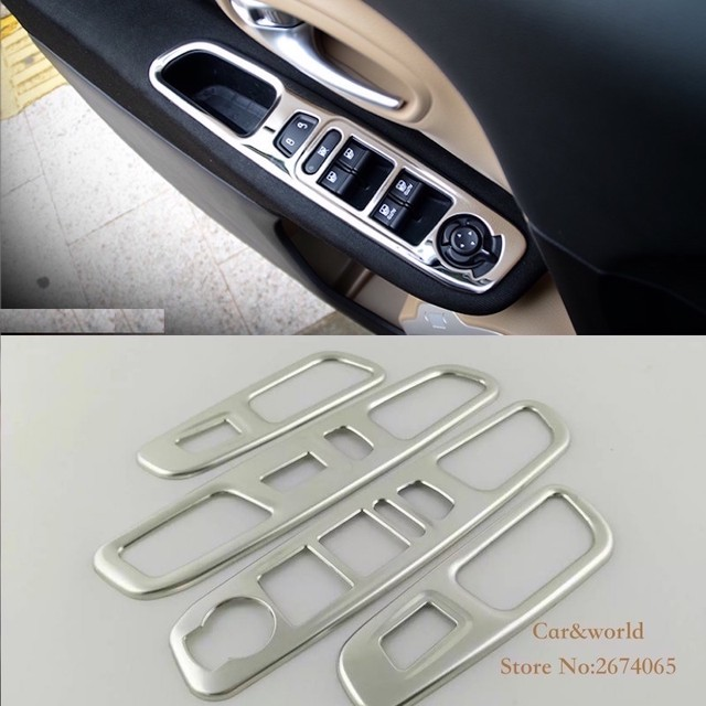 For Jeep Renegade 2015 to 2017 Glass Switch Cover Trim Door Window Armrest Button Decorate Stainless Steel Car-styling Accessory