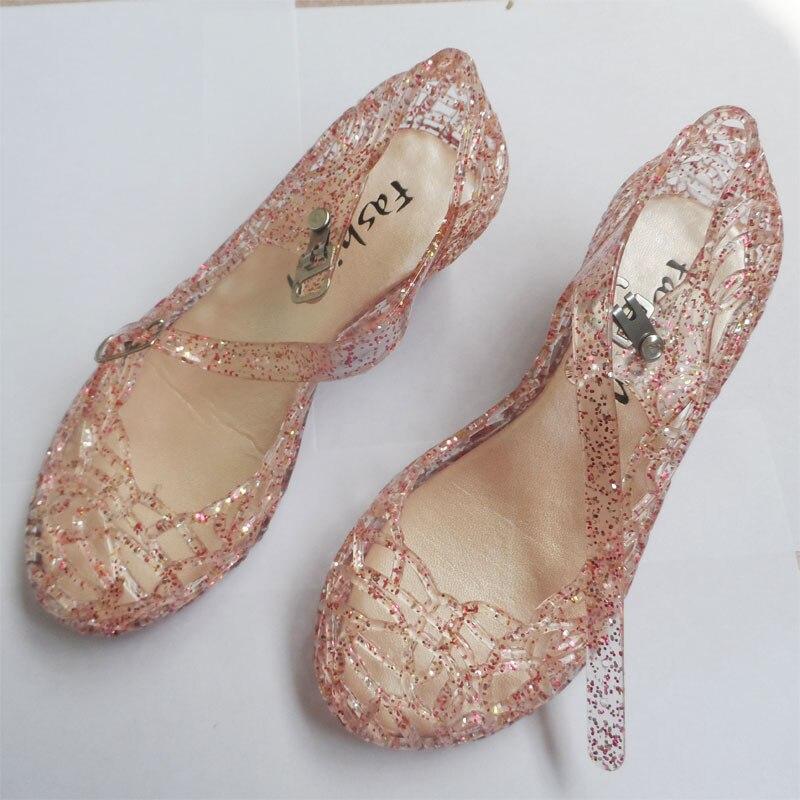 2016 Summer Girls Sandals Baby Girls Jelly Shoes Slipsole Wedge Heel Sparkle Powder Shiny Blue/Pink Girl Shoes Сникеры