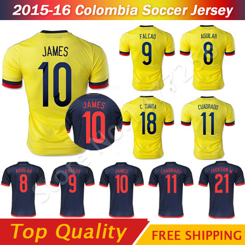 Camisa Colombia Jersey 2016 Copa america Colombia JAMES FALCAO CUADRAD Soccer  Jersey 15 16 Colombia Thai AAA b34b3cd15
