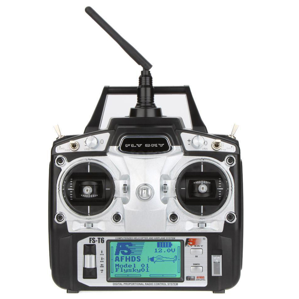 Flysky FS-T6 2.4GHz 6CH Mode 2 Transmitter with Receiver R6-B for RC Multirotor flysky 2 4g 6ch channel fs t6 transmitter receiver radio system remote controller mode1 2 lcd w rx rc helicopter multirotor