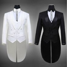 Tailcoat Groom Tuxedos Best Man Groomsmen Men Wedding Suits Notch Lapel Performance Suit Black White(Jacket+Pants+Tie+Vest)(China)