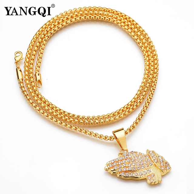 YANGQI HipHop Full Rhinestone Hand Shape Pendant Necklace Women Men Gold Color Stainless Steel Religion Prayer Necklace Jewelry 5