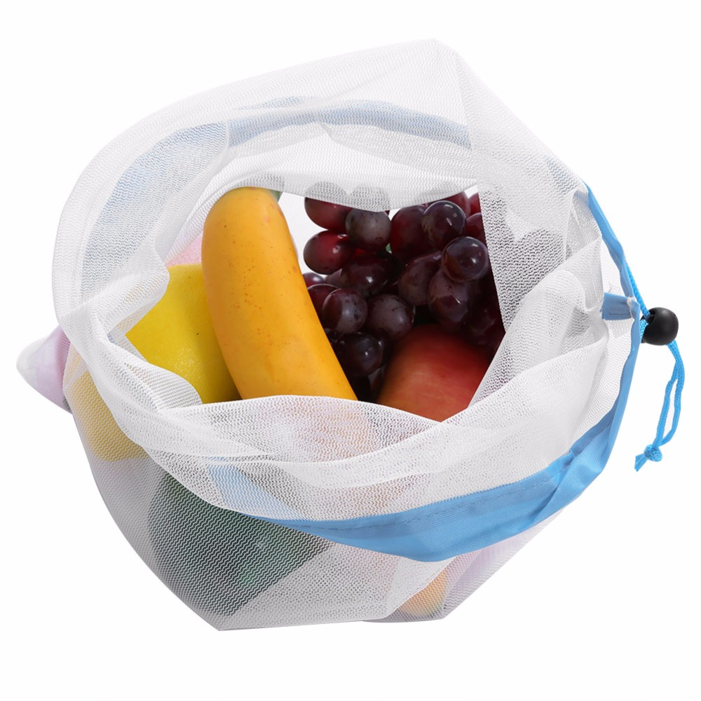 Bags & Baskets 15pcsreusable Mesh Produce Bags Washable Eco Friendly Bags For Storage Fruit Vegetable Toys Organiz Rack Container Makeup Boxes Buy One Get One Free Home Storage & Organization
