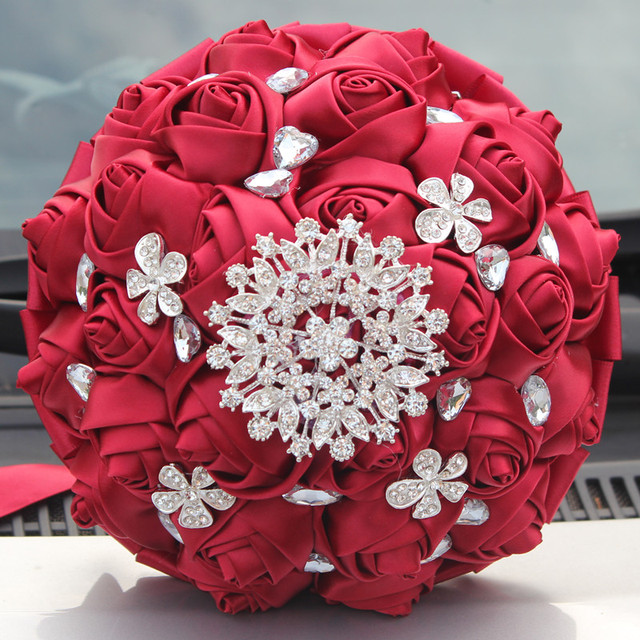 Stunning Diamond Brooch Crystal Silk Ribbon Wedding Bouquet Wine Red ...
