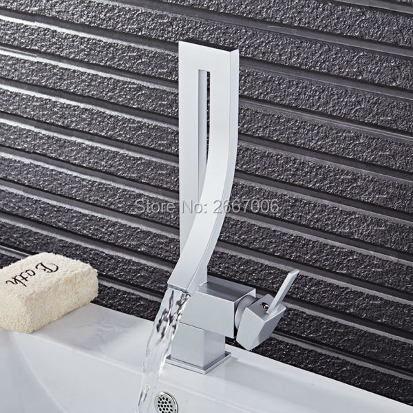 GIZERO Free shipping Rotable Fancy Design Silver Color Waterfall Basin Faucet Tap Deck Mount Brass Mixer Bathroom Faucet GI876 fancy 3d lotus pond design bathroom stickers