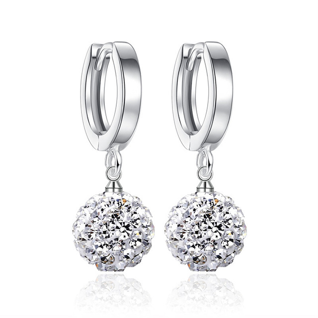 Crystals From Swarovski Round Ball Drop Earring Stone Shambhala Spherical Earrings Dangle Prevent Allergy Jewelry For