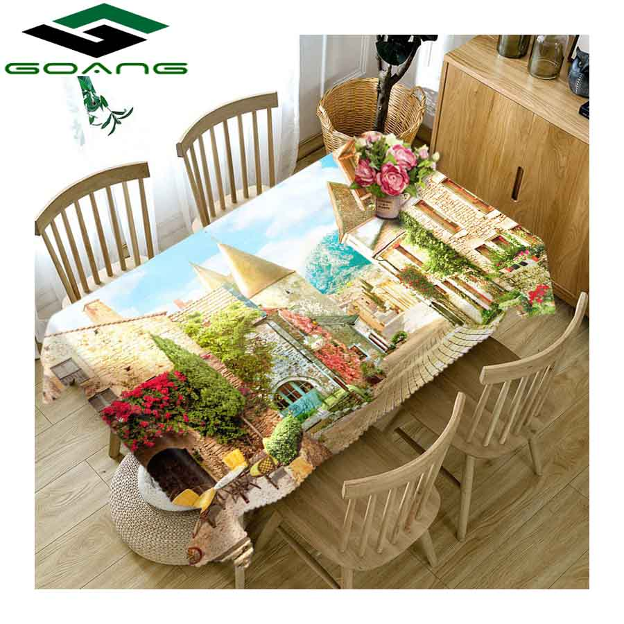 GOANG 3D Tablecloth street scenery Pattern Waterproof Thicken tablecloth rectangular and round table cover Home textile
