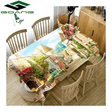 GOANG 3D Tablecloth street scenery Pattern Waterproof Thicken tablecloth rectangular and round table cover Home textile цена