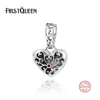 FirstQueen 925 Sterling Silver Open Heart Charm Fits Most Popular European Bracelets Necklace DIY For Jewelry