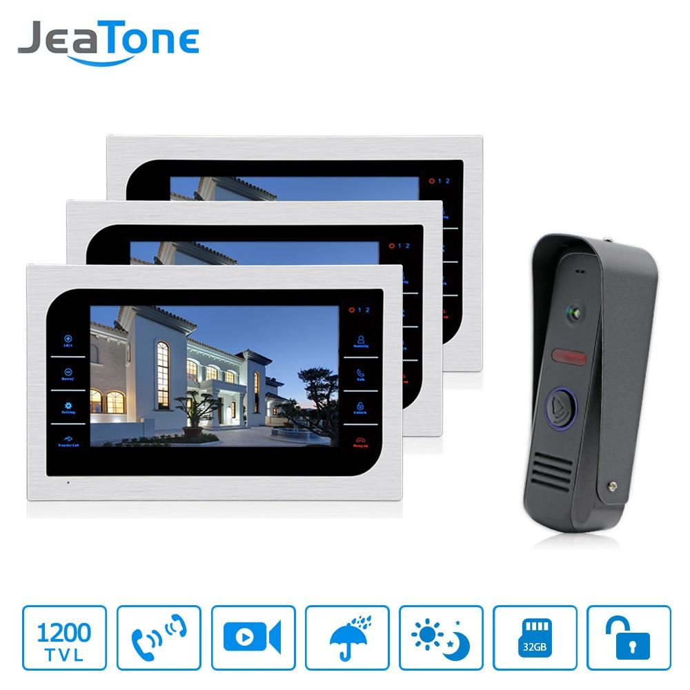 JeaTone 10 Inch TFT LCD Door Phone Video Doorbell System IR Night Vision  Camera Video Intercom Home Apartment Entry Kit 3v1